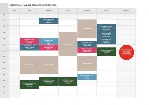 Planning cours SEPTEMBRE 2020