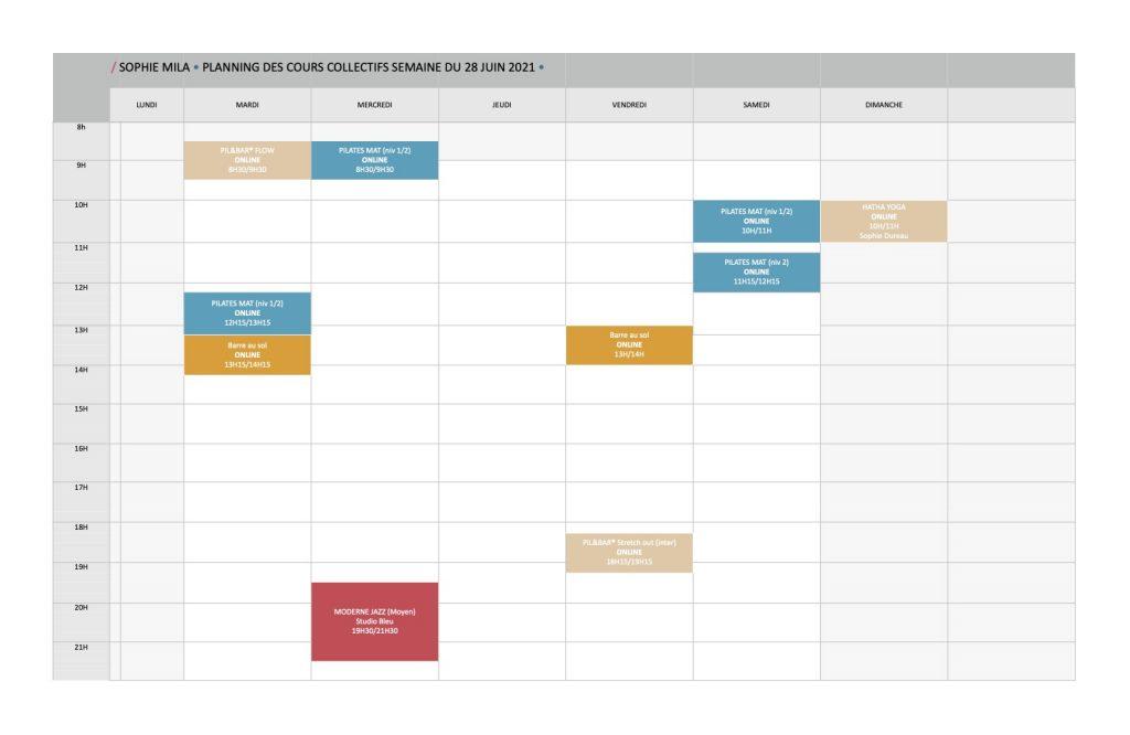 Planning cours 28 juin