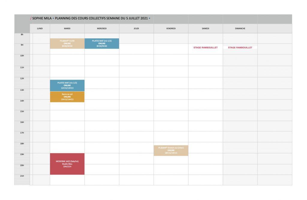 Planning cours JUILLET 2021 2